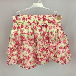 Hollister Pink Floral Ruffle Boho Skirt